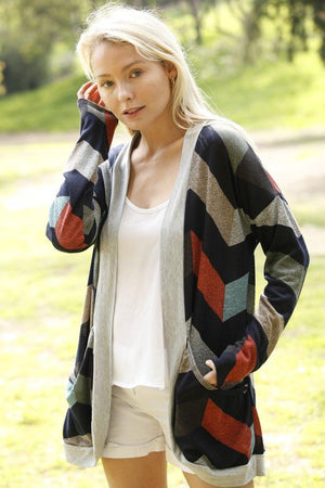 Grey Chevron Curved Hem Open Cardigan_Plus