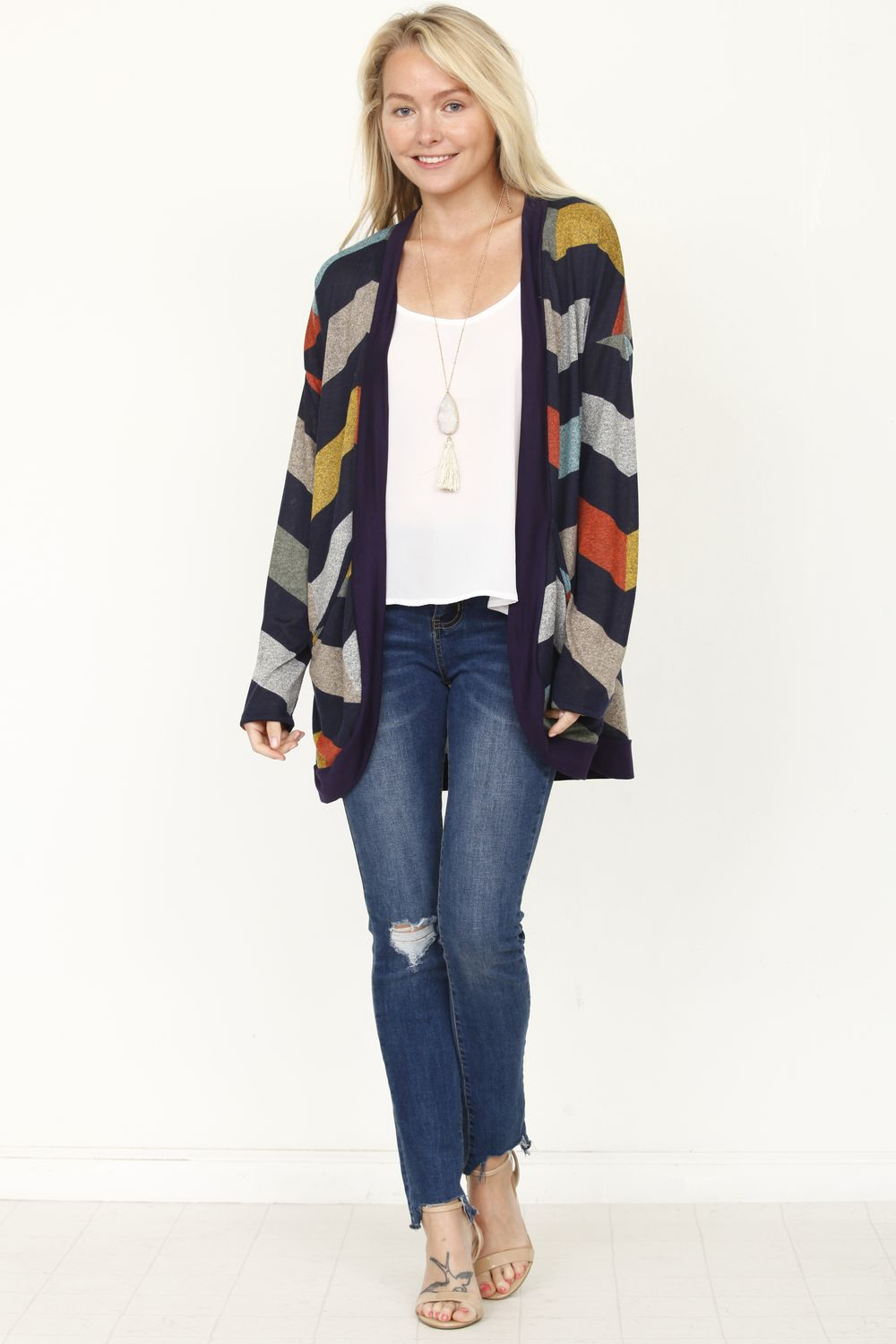 Navy Chevron Curved Hem Open Cardigan_Plus