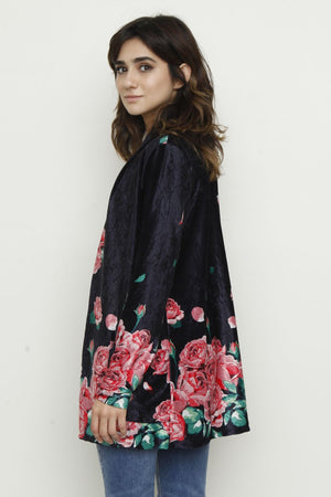 Black & Coral Floral Velvet Cardigan With Pockets