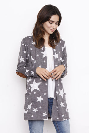 Charcoal Star Open Cardigan with Elbow Patch
