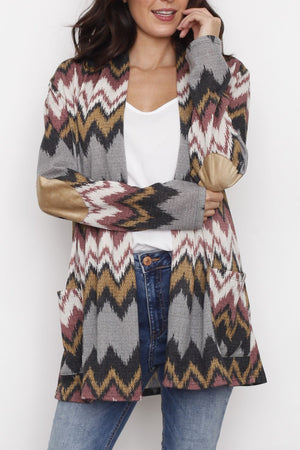 Brown & Grey Zig Zag Elbow Patch Cardigan With Pockets