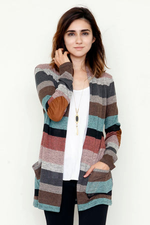 Pink & Mint Stripe Cardigan with Elbow Patch_Plus
