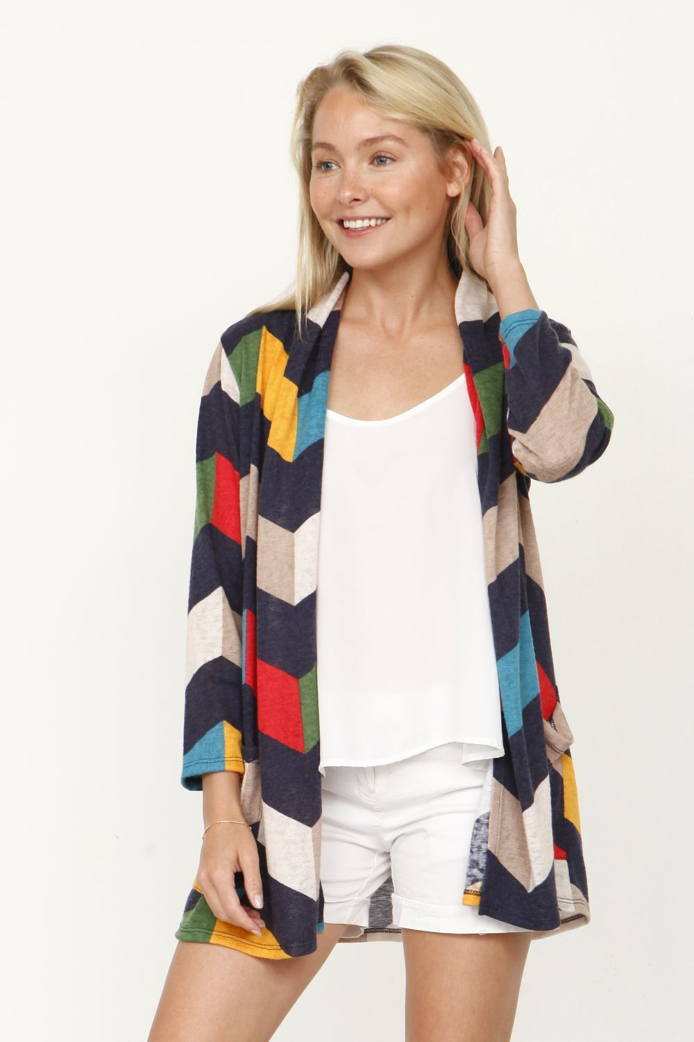 Navy Chevron Multi Color Cardigan With Pockets