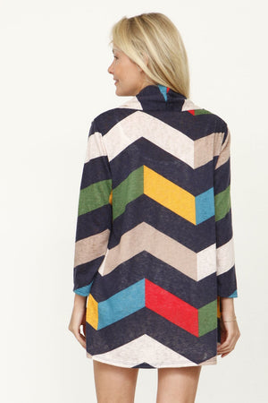 Navy Chevron Multi Color Cardigan With Pockets_Plus