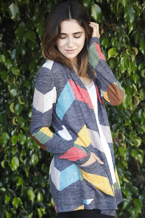Chevron Elbow Patch Cardigan With Pockets