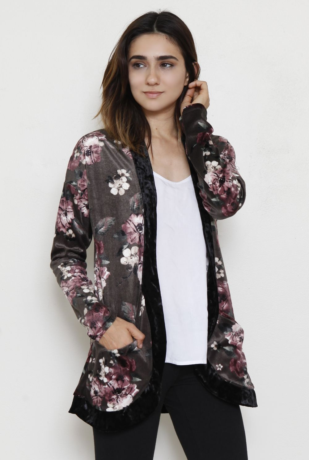 Velvet Charcoal Floral Cardigan With Pockets