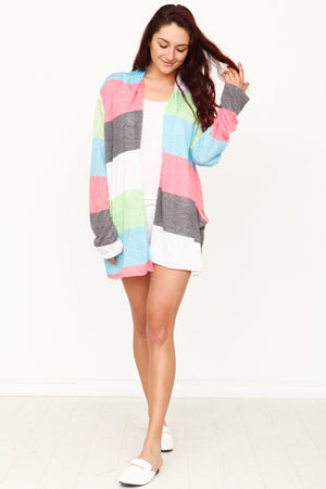 Summer Multi Color Long Stripe Cardigan_Plus