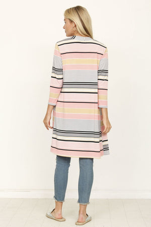 Pink & Grey Multi Stripe Open Cardigan