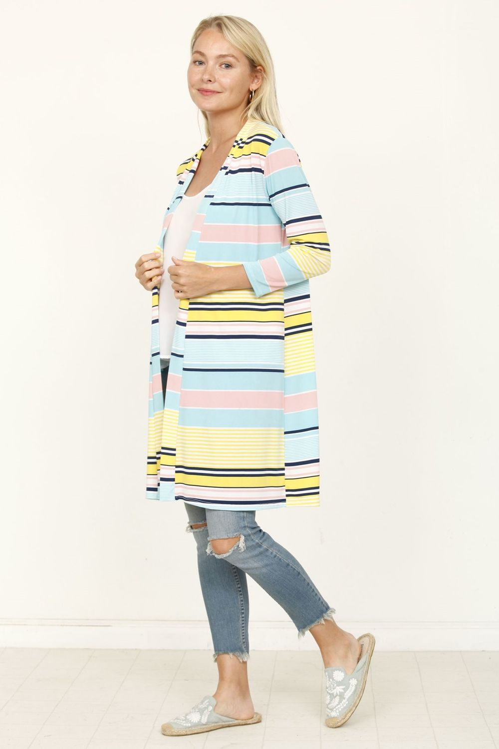 Aqua & Yellow Multi Stripe Open Cardigan_Plus