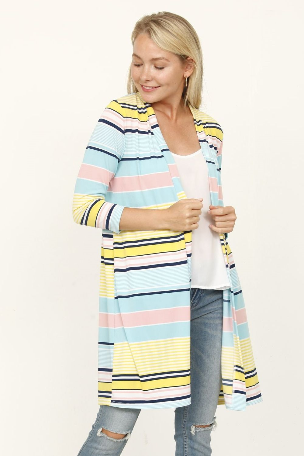 Aqua & Yellow Multi Stripe Open Cardigan