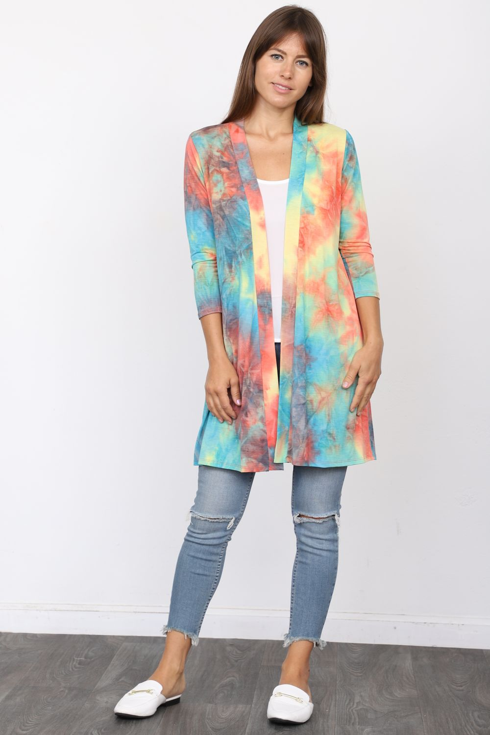Tropical Tie Dye 3/4 Sleeve Open Cardigan