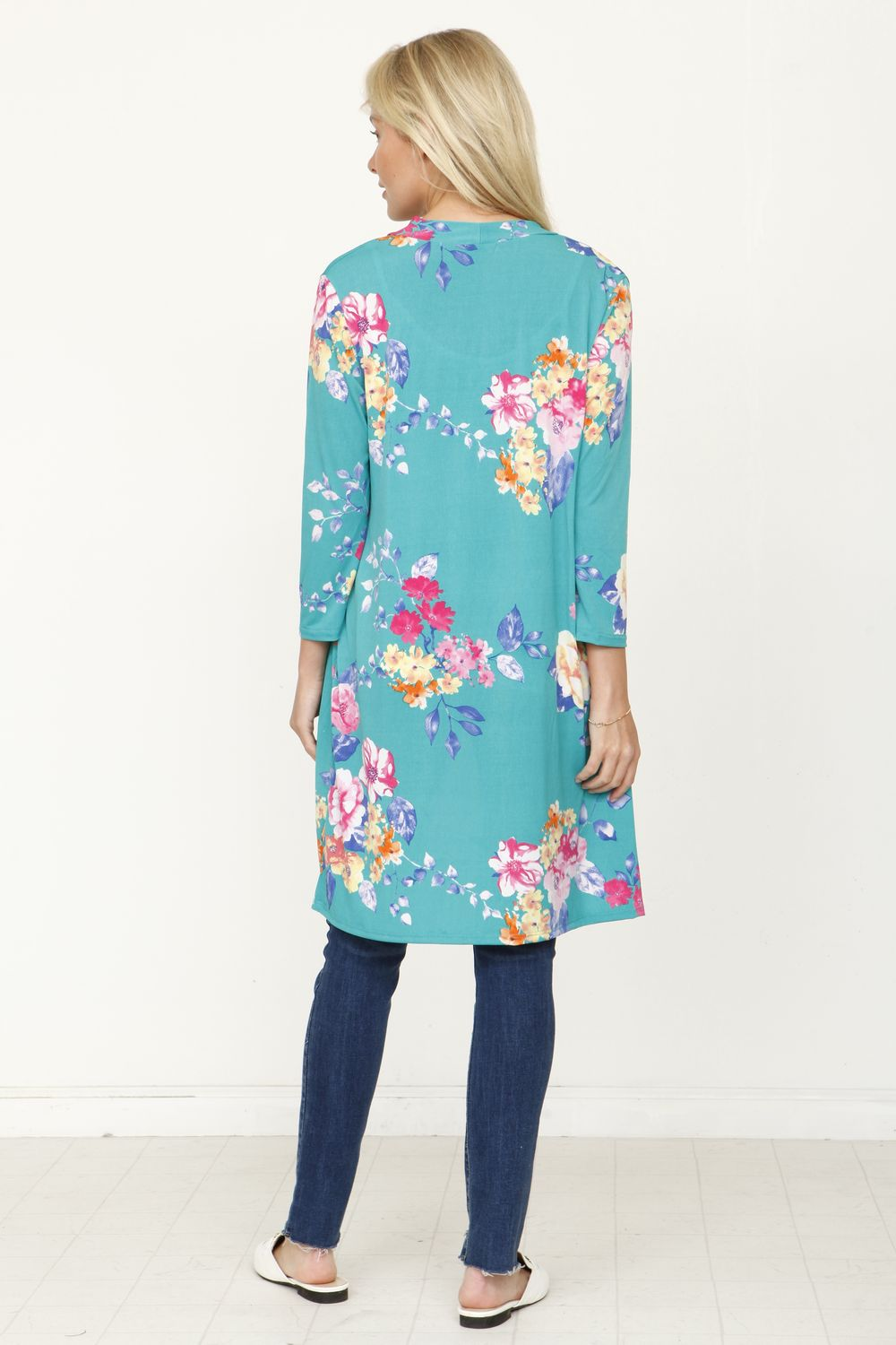 Turquoise Floral 3/4 Sleeve Open Cardigan