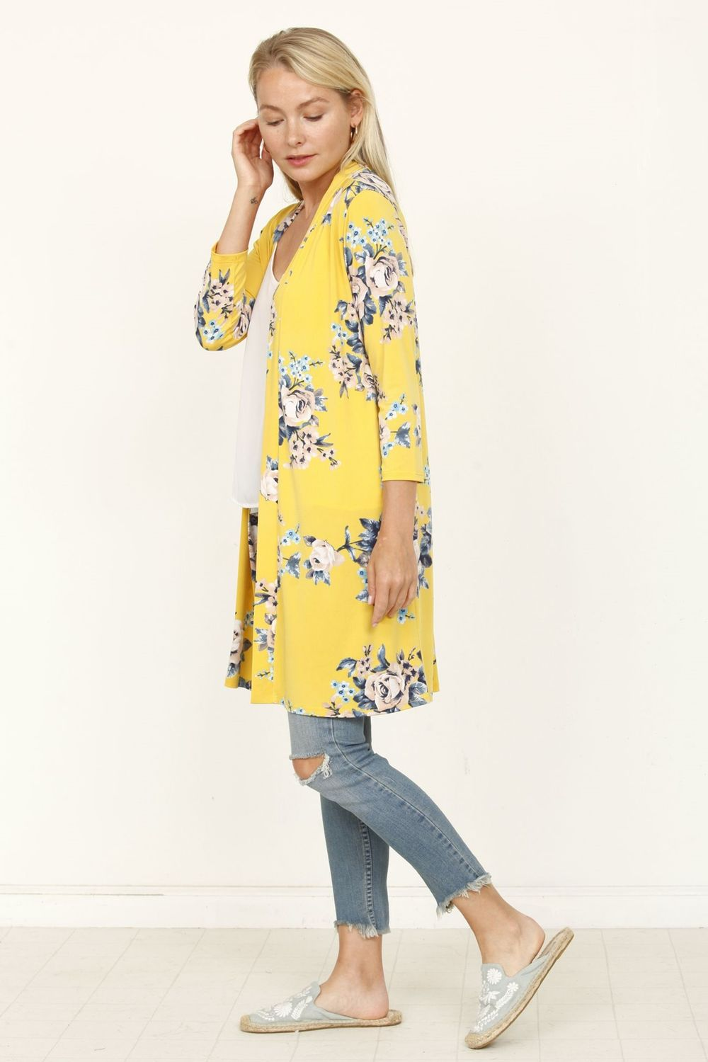 Yellow Floral 3/4 Sleeve Open Cardigan