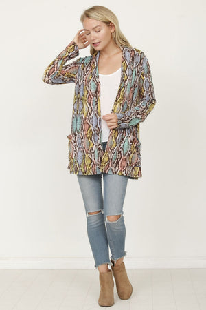 Multi Color Snake Print Open Cardigan