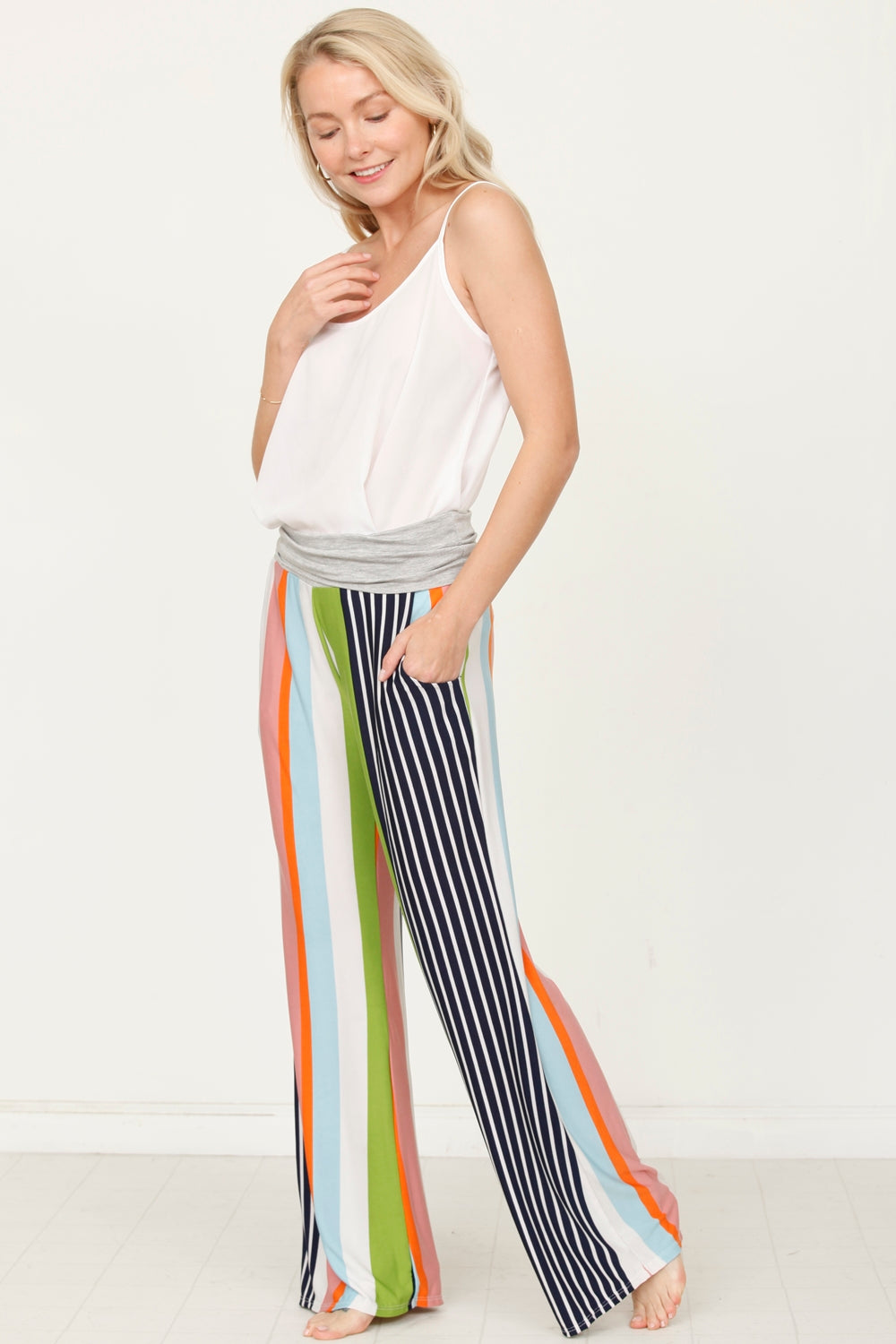 Grey & Sage Stripe Fold-Over Lounge Pants_Plus