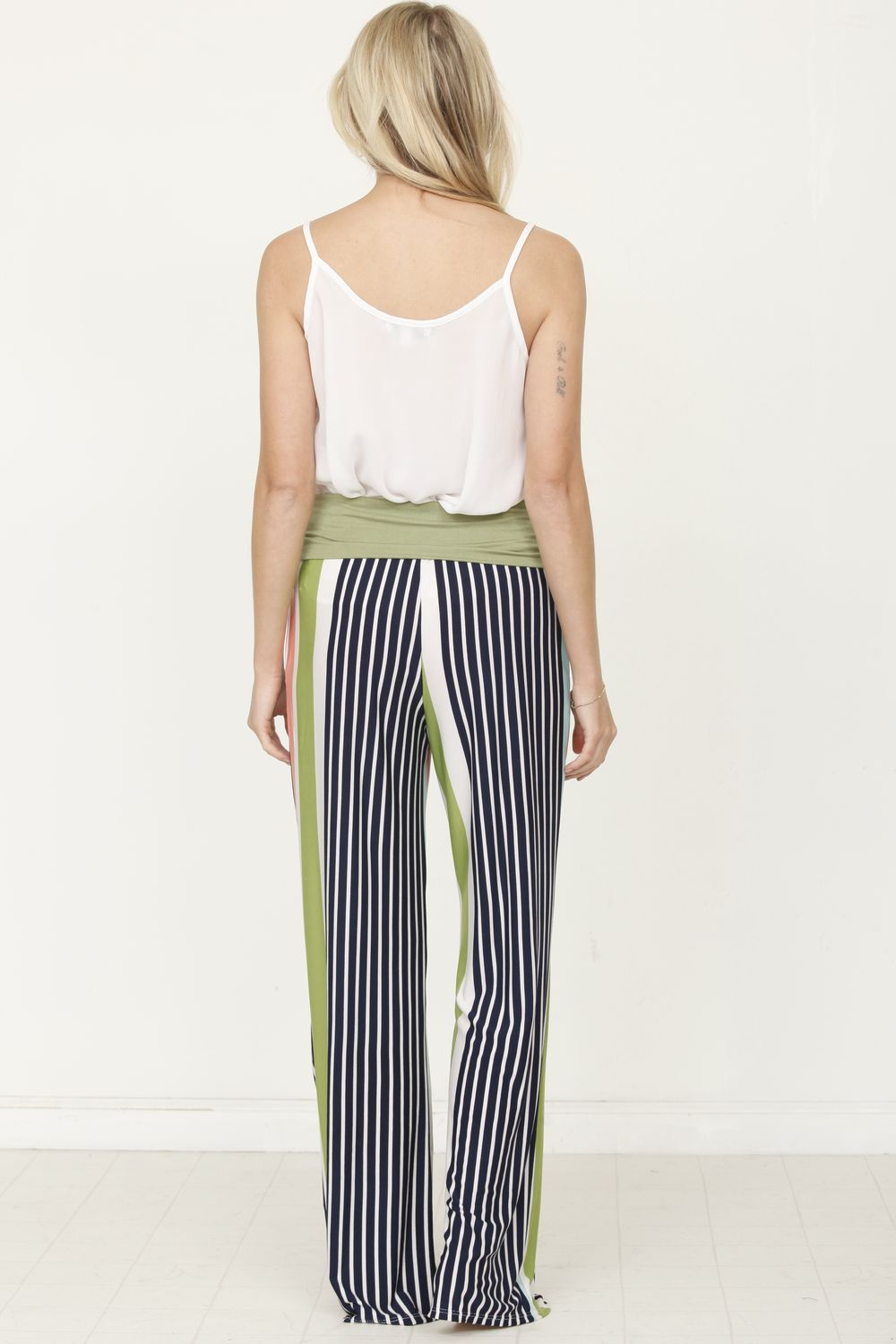Sage & Navy Stripe Fold-Over Lounge Pants_Plus