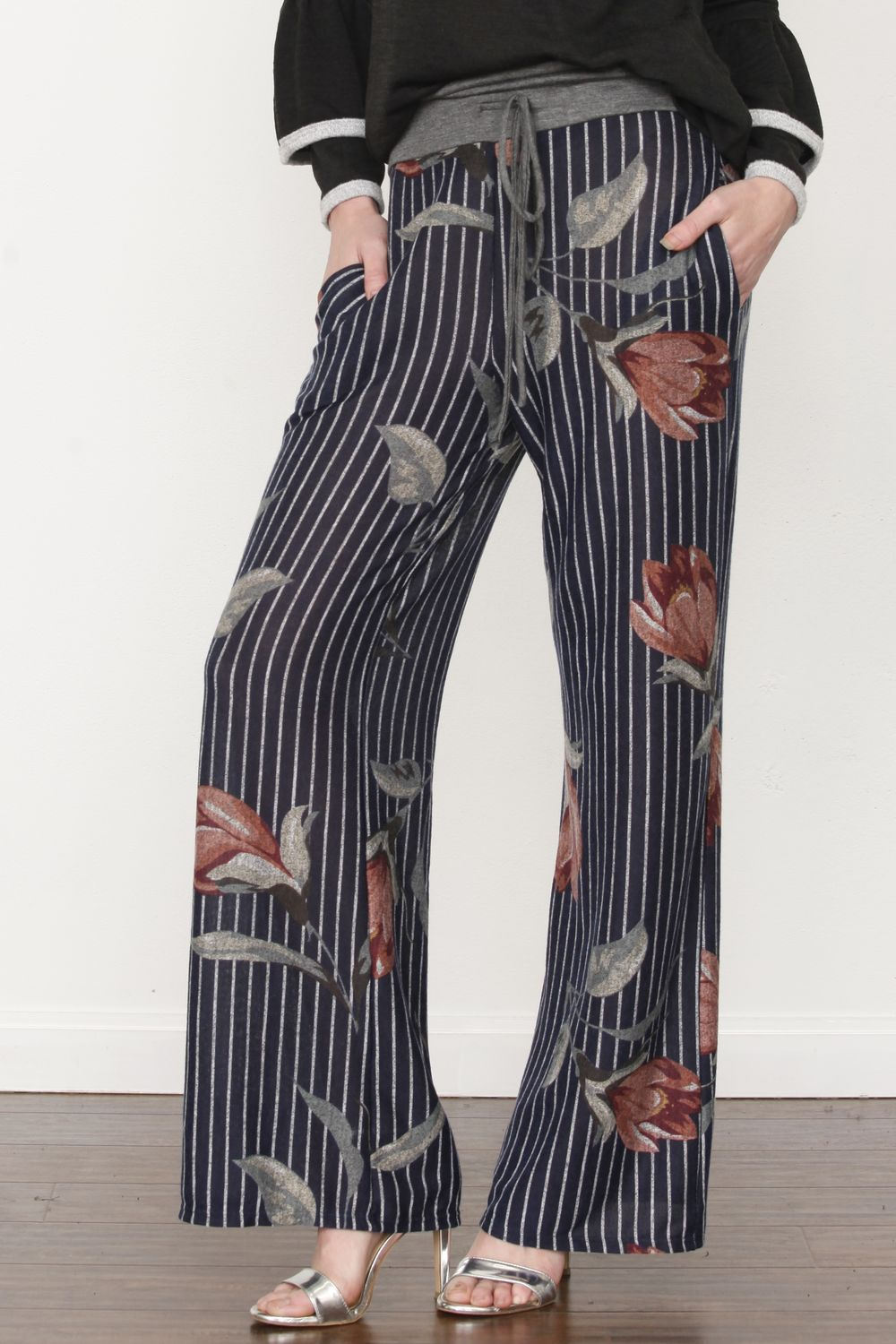Navy Stripe Floral Drawstring Pants