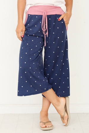 Pink & Navy Polka Dot Drawstring 3/4 Pants_Plus