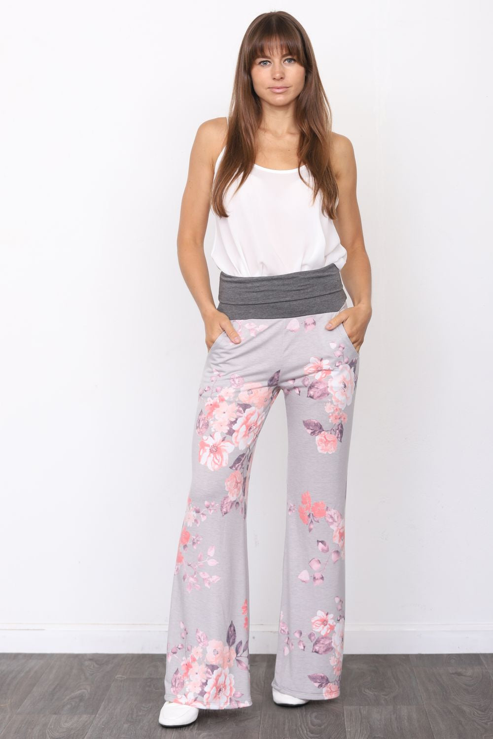 Charcoal Fold-Over Grey Floral  Lounge Pants_Plus