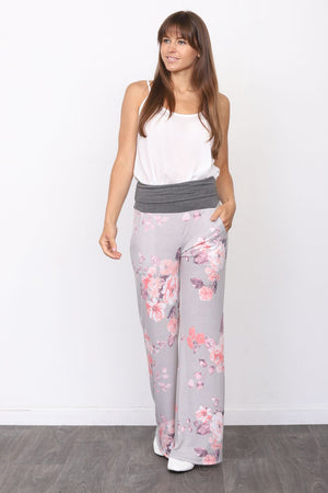 Charcoal Fold-Over Grey Floral Lounge Pants