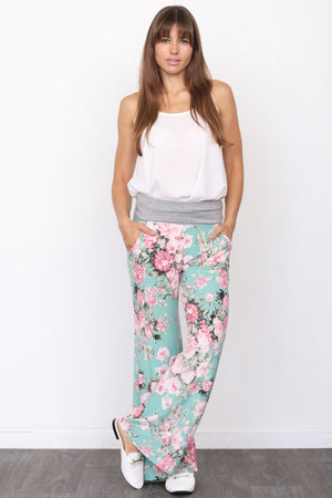 Mint & Pink Floral Fold-Over Lounge Pants