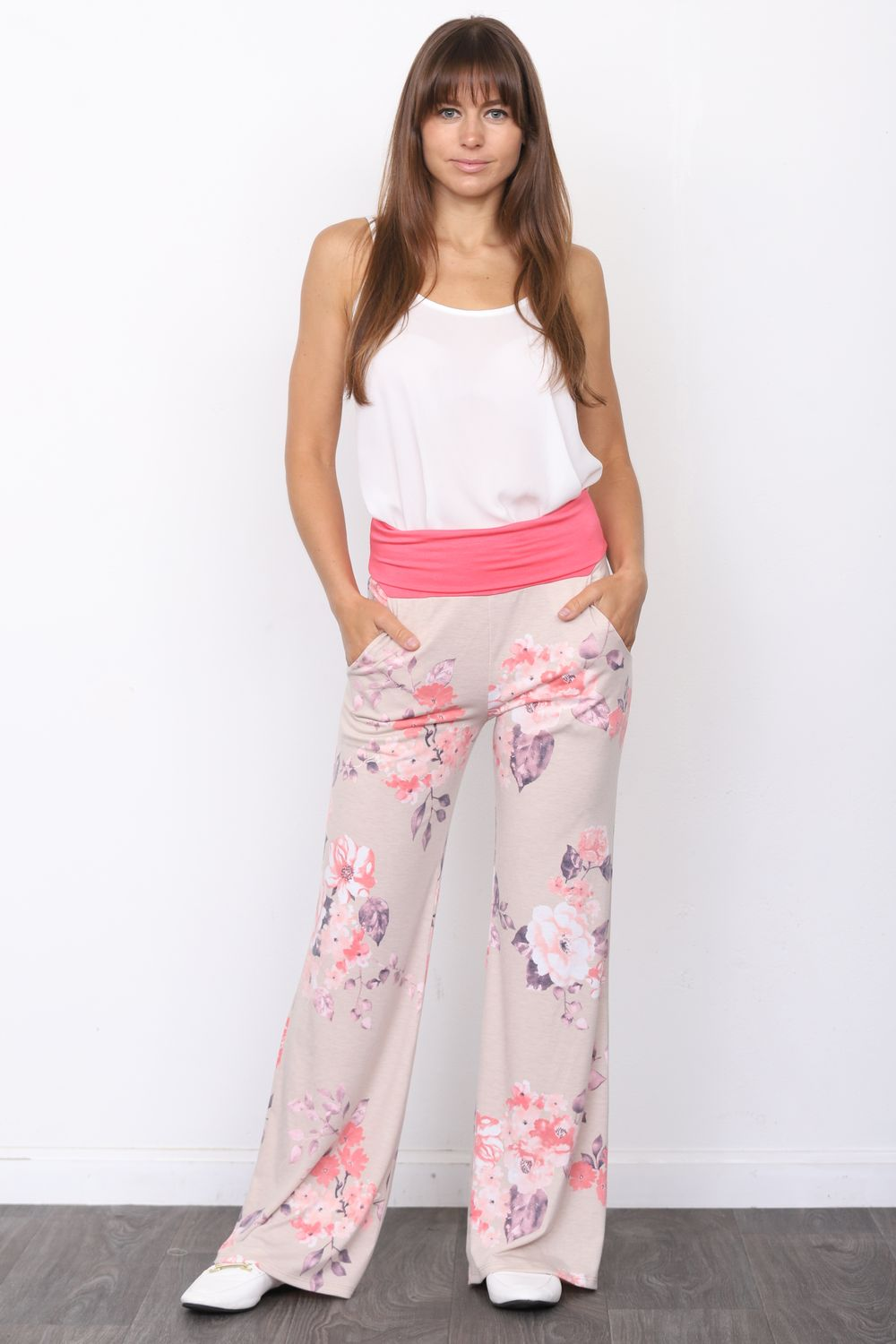 Coral Fold-Over Pink Floral Lounge Pants