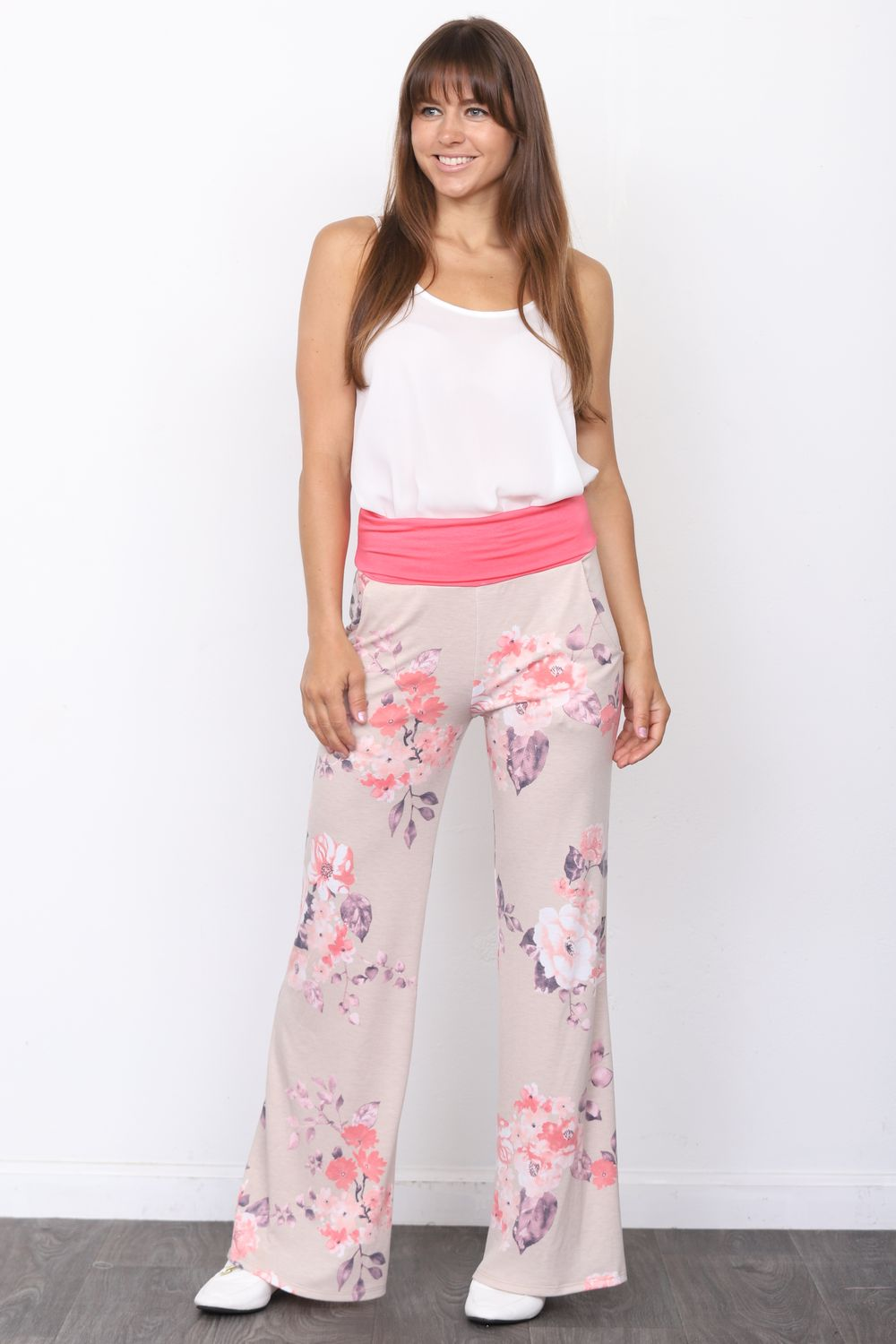 Coral Fold-Over Pink Floral  Lounge Pants_Plus