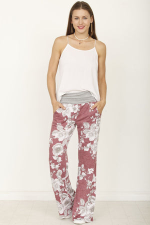 Grey & Vintage Burgundy Floral Drawstring Lounge Pants