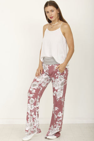 Grey & Vintage Burgundy Floral Drawstring Lounge Pants_Plus