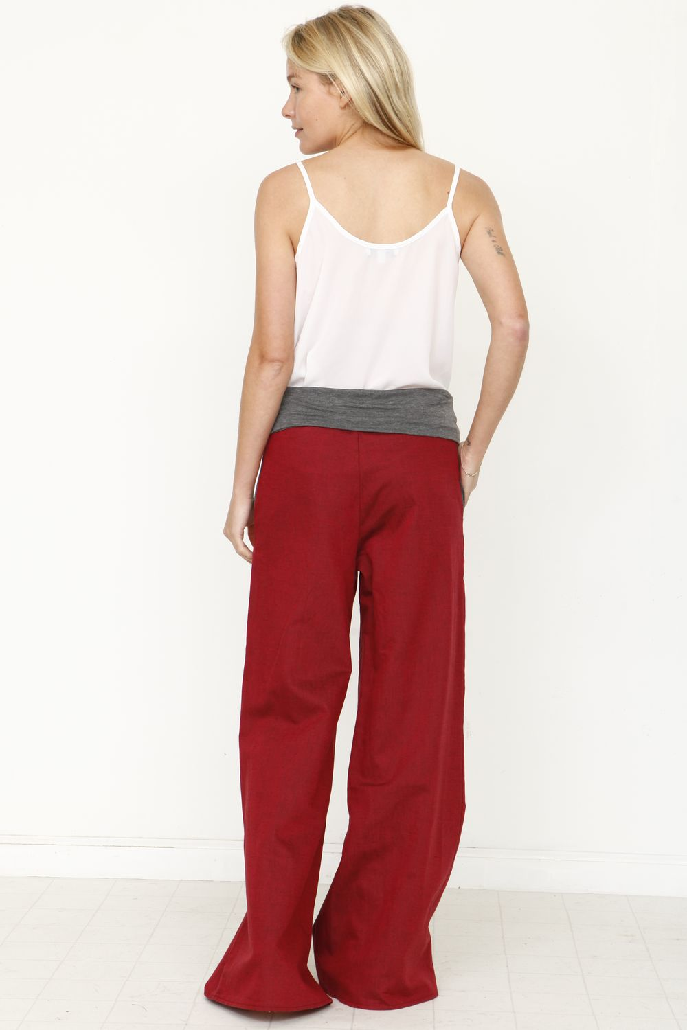 Charcoal Fold-Over Burgundy Wide Linen Pants