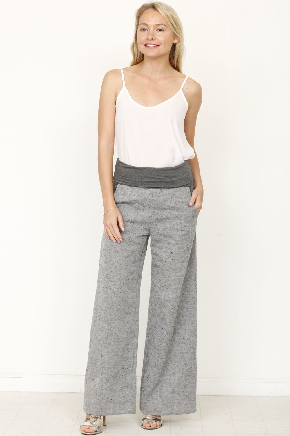 Charcoal Fold-Over Grey Wide Linen Pants