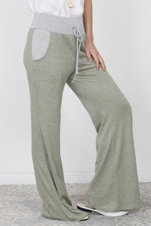Brushed Heather Sage Wide Lounge Pants