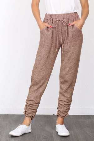 Mocha Shimmer French Terry Jogger Pants_Plus