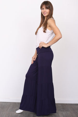 Navy Tiered Fold-Over Wide Pants