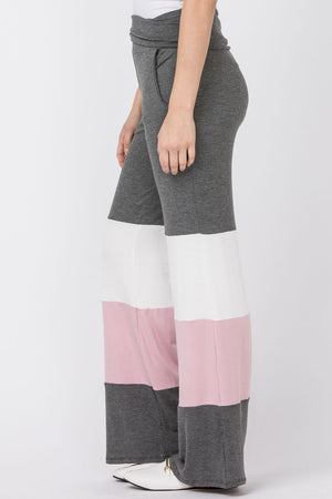 Charcoal & Pink Color Block Fold-Over Lounge Pants_Plus
