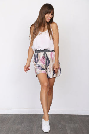Charcoal Pink Tulip Shorts