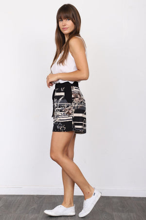 Black Stripe Floral Shorts