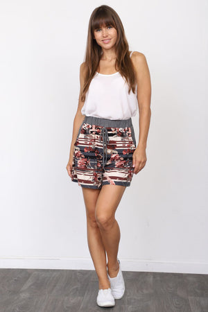 Charcoal & Burgundy Stripe Floral Shorts