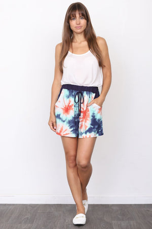 Navy & Coral Sunburst Tie Dye Shorts_Plus