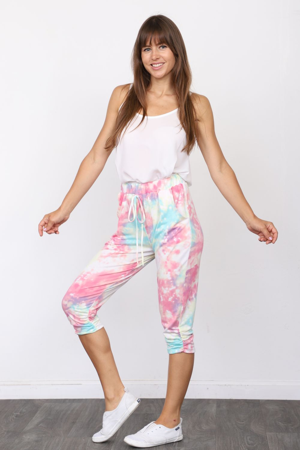 Pink & Mint Galaxy Tie Dye Cropped Jogger_Plus