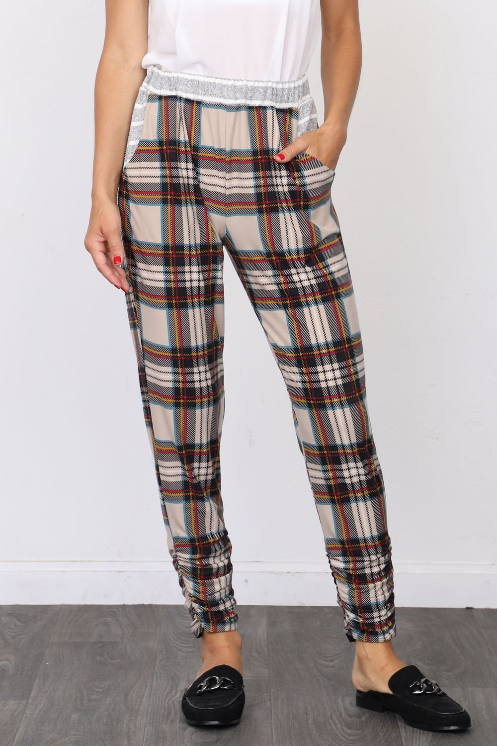 Cream Plaid Jogger Pants