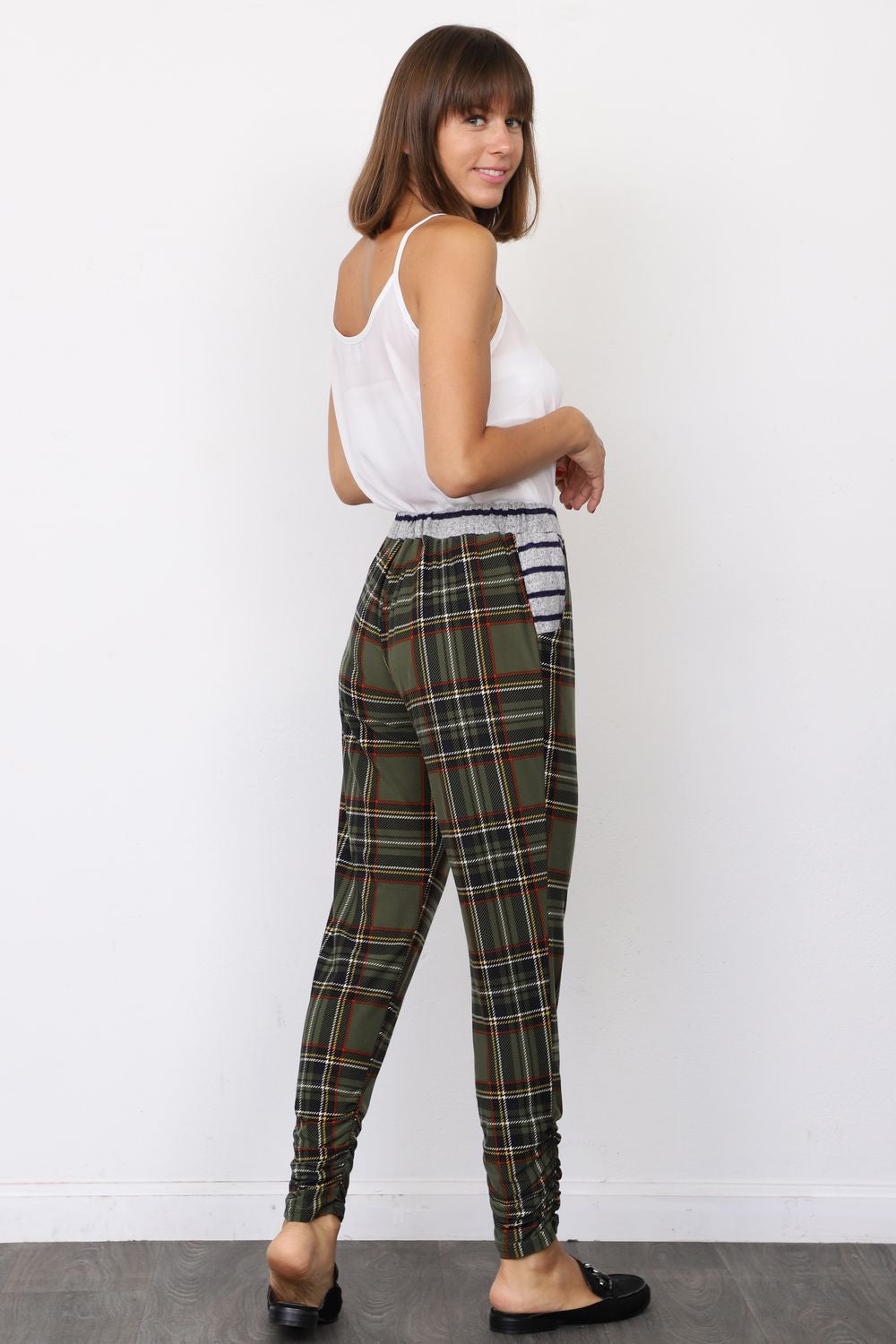 Olive Plaid Jogger Pants