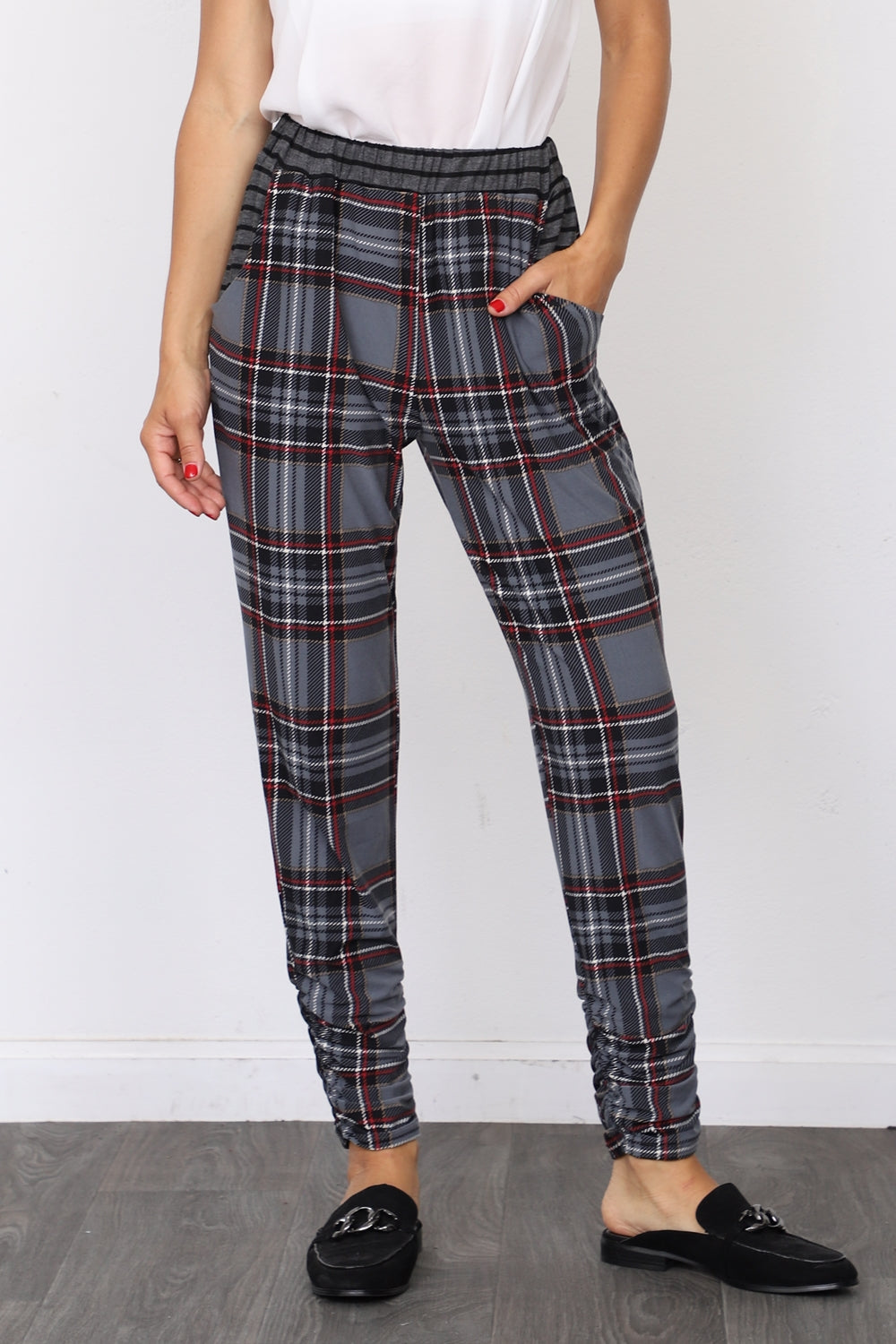 Slate Blue Plaid Jogger Pants