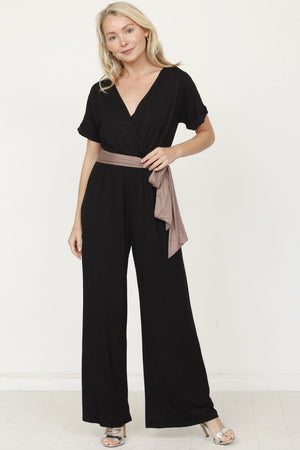 Black Surplice Mocha Sash Jumpsuit_Plus