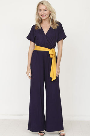 Navy Surplice Mustard Sash Jumpsuit_Plus