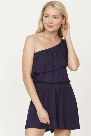 Navy One Shoulder Romper