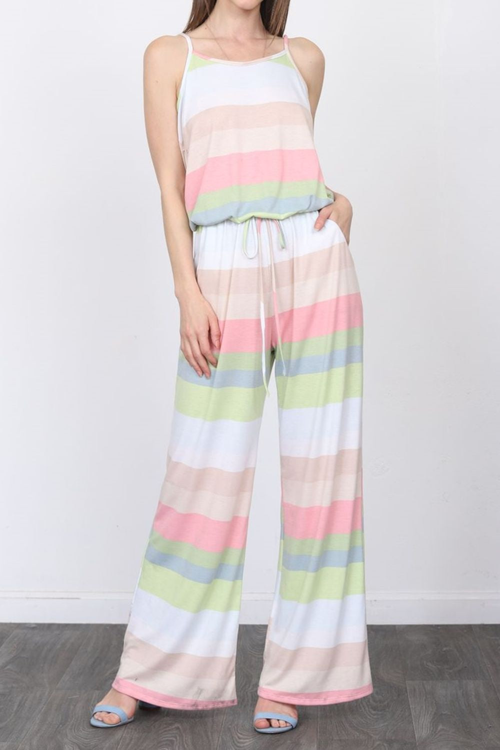 Baby Pink Stripe Spaghetti Strap Jumpsuit