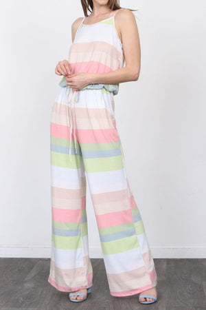 Baby Pink Stripe Spaghetti Strap Jumpsuit_Plus