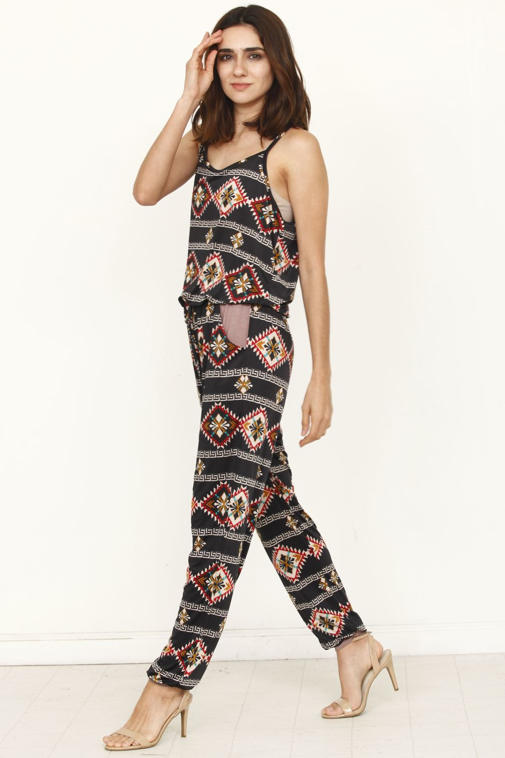 Tribal Spaghetti Strap Jumpsuit_Plus