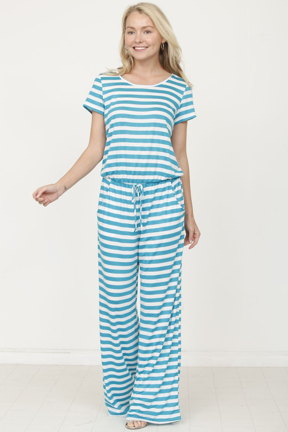 Cyan Stripe Short Sleeve Jumpsuit